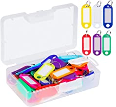 60 Pack Plastic Key Tags with Container, JWISLAND ID Name Tags with Label Window and Ring, 10 Colors