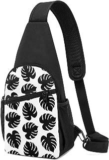 Patrón sin costuras con hojas tropicales, mochila ligera para el hombro, bolsa cruzada, para viajes, senderismo, para homb...