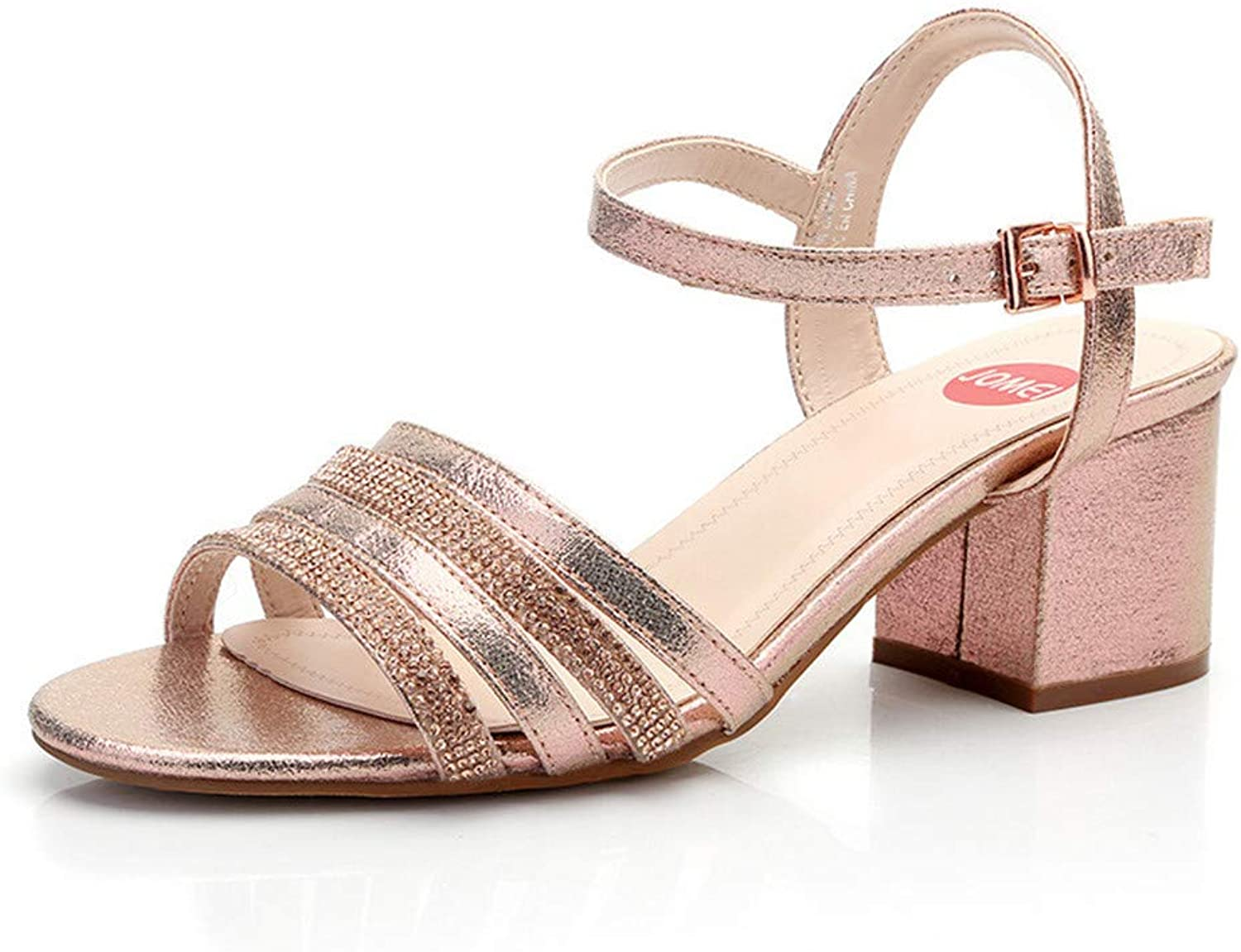 Sandals Ladies Fashion Button Large-Size Women's shoes Coarse-Heeled Water Diamond High-Heeled shoes