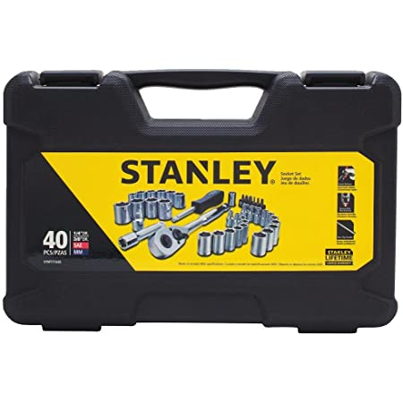 Stanley 194656 Socket Set 1//4-inch and 1//2-inch Drive 50 Pieces