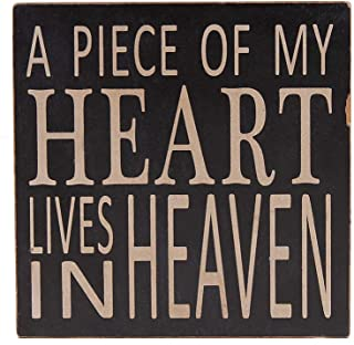WHY Decor Wood Box Sign Wall Art Quotes Wall Decor Office Decor for Desk Cubicle Decor Wood Sign with Saying A Piece of My Heart Lives in Heaven 5.75 Inch by 5.75Inch