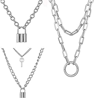 YRY Silver White Lock Pendant Necklace 3Pcs Set