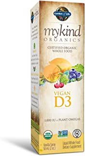 Garden of Life D3 Vitamin - mykind Organic Whole Food Vitamin D Supplement with Plant Omegas, Vegan, Vanilla, 2oz Liquid -...