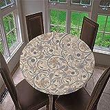 Chickwin Mantel Redondo Impermeable Antimanchas con Patrón Clásico Retro, Mantel de Mesa con Diseño de Borde Elástico para Comedor, Fiestas, Cocina y Picnic (Beige,100cm)