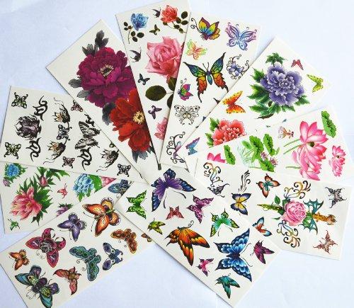 10pcs/package chaud de vendre des stickers tatouages temporaires différents modèles, y compris lotus / poisson rouge / papillons colorés et des fleurs / papillon anges / fleurs / etc noires