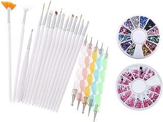 Yimart® Pack of 20,Nail Art and Gel Acrylic Drawing Painting Brush Set with Dotting Pen Tools (E) (Nail Art Brush C)