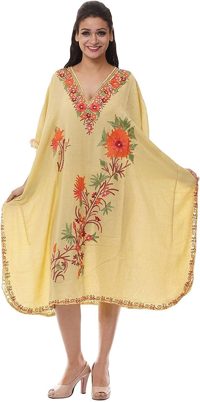 Odishabazaar Kashmiri Embroidered Womens Beachwear Cover up Swimsuit Swimwear Short Dress Caftan