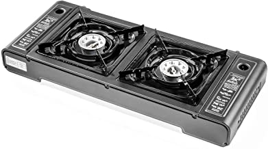 Stark Portable Cassette Butane Double Gas Stove Dual Burner Outdoor Camping Dual-Burner, Black