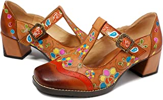 Womens Leather Mary Jane Shoes Colorful Patchword Block Heel Pumps Vintage Mary Jane Shoes