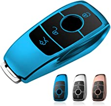 Compatible with Mercedes Benz Key Fob Cover, Smof Premium and Fashion Appearance Key Case Cover for Mercedes Benz E Class, 2018 up S Class, 2017 2018 W213 Keyless Smart Key Fob (Blue)