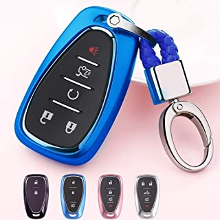 Mofei Compatible with Chevrolet Key Fob Cover Shell Case TPU Protector Holder with Key Chain for Chevrolet Chevy 2018 2017 2016 Malibu Camaro Cruze Traverse Volt Bolt Remote Keyless Entry (Blue)