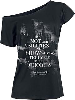 HARRY POTTER Choices Mujer Camiseta Negro, Ancho