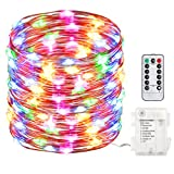 GDEALER 100 Led 33ft Fairy Lights Fairy String Lights Battery Operated Waterproof 8 Modes Remote Control String Lights Copper Wire Firefly lights Christmas Decor Christmas Lights Multi Color