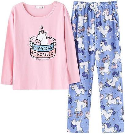 d4a48bf83f Women s Cute Sleepwear Long Sleeve Unicorn Pajama with Pj Set