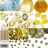 HHO Goldene Hochzeit Dekoset Hängespiralen Ballons Konfetti Kerzen Luftschlangen