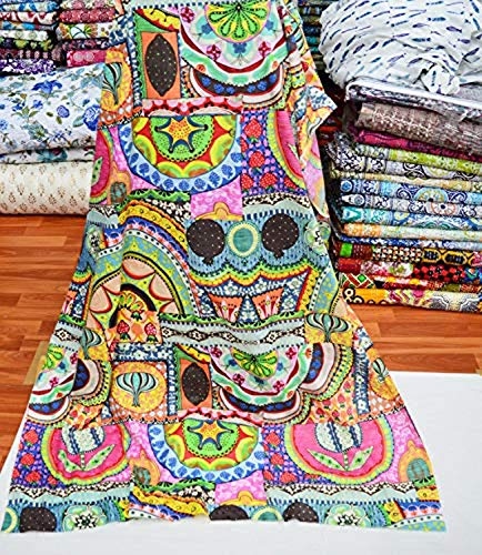 Medidor de tela pura hecho a mano Jaipuri Mano Tela de la impresión de bloque Vestido indio Material de la tela Medidor de tela de 2,5 metros para coser la tela india por el metro