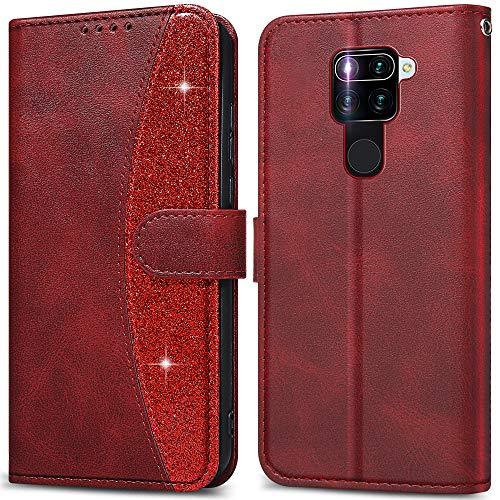 LEBE Handyhülle für Xiaomi Redmi Note 9 Hülle,Leder Flip Schutzhülle[Standfunktion] [Kartenfach] [Magnetverschluss] für Xiaomi Redmi Note 9 Tasche -Rot