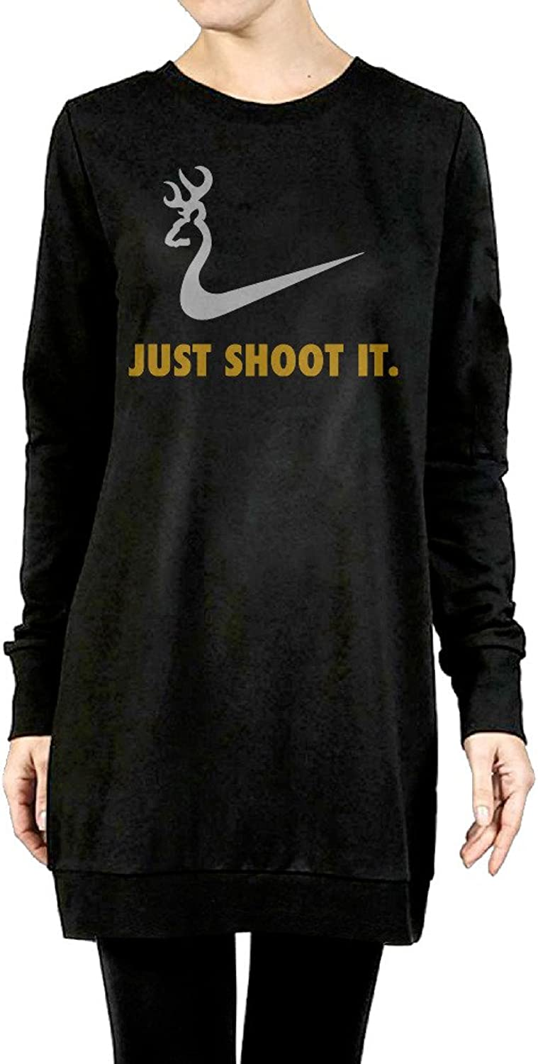 Just Shoot It Duck Women's Long Fleece Sweatshirt Black