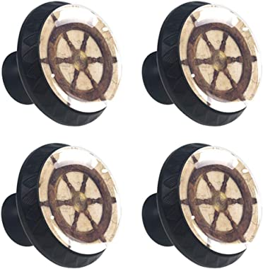 Kitchen Cabinet Knobs - Retro Compass Map - Knobs for Dresser Drawers for Cupboard,Wardrobe,Bathroom or Office - Pack of 4
