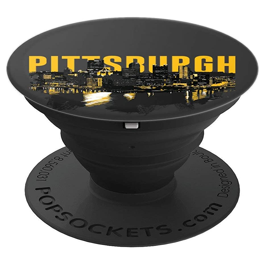 Pittsburgh Downtown Skyline in Black and Gold - PopSockets Grip and Stand for Phones and Tablets