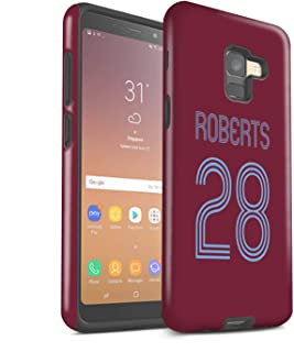 Personalized Custom Soccer Club Jersey Shirt Kit Matte Case for Samsung Galaxy A8 2018 / Claret Blue Design/Initial/Name/Text Shockproof DIY Cover