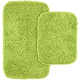 Garland Rug 2-Piece Jazz Shaggy Washable Nylon Bathroom Rug Set, Lime Green
