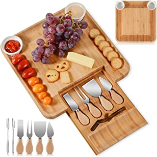 Bamboo Cheese Board Cheese Platter Set,Hidden Drawer for Cutlery, 2 Ceramic Bowels to Put Spreads In,Fancy House Warming G...