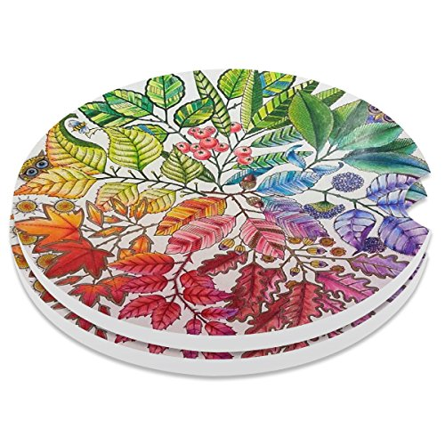Car Coasters 2 Pack, Small 2.56' Stone Car Cupholder Absorbent Coaster Set for Women Men Drink Cup Holder Coasters (Colorful Flowers)