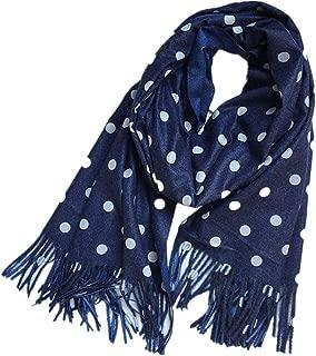 Elegant Polka Dot Knitted Scarf Cashmere Like Poncho Shawl Cape Tassel Fringed Scarf Wrap