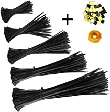 Honyear Zip Ties 500 Pcs Nylon Cable Zip Ties with Self-Locking 4/6/8/10/12 Inch, Black, UV Resistant, Heavy Duty