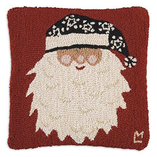 "Chandler 4 Corners Artist-Designed Santa's New Hat Hand-Hooked Wool Decorative Christmas Throw Pillow (18"" x 18"")"
