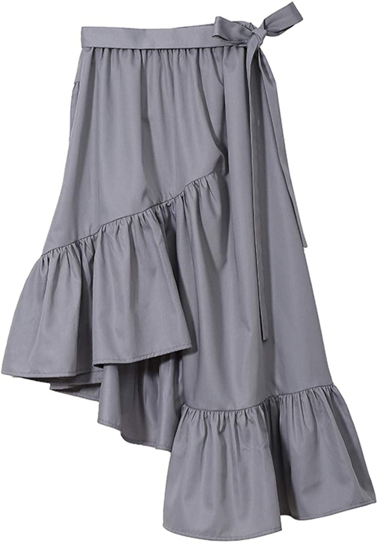 Stella marina collezione Women Ruffles Ankle Length Elastic Waist Casual Wear Cotton Skirt