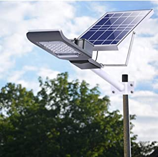 SZYOUMY Solar Street Flood Lights IP65 Outdoor Lamp 100W 5500 Lumens With Pole Remote Control Dusk to Dawn Security Lighting for Yard, Garden, Gutter, Pathway, Basketball Court, Arena (100W With Pole)