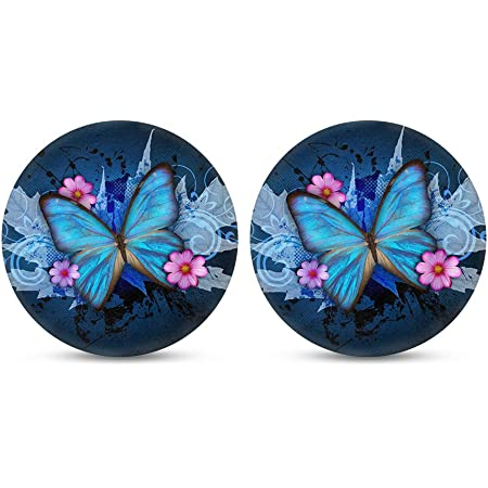 Amazon Com Car Drinks Coasters Set Of 2 Pack Butterfly Absorbent Ceramic Stone Blue Purple Coaster With A Finger Notch For Easy Removal From Auto Cupholder Coasters