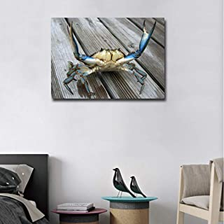 Wall Decor Crab Wall Art Rustic Pictures Canvas Prints Artwork Blue Crab Stretch out Claw on Plank Painting for Living Room Bedroom Kitchen Decoration Wooden Framed Ready to Hang(20''Wx28''H)