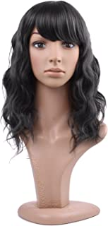 MelodySusie Mid Length Curly Wavy Wig for Women, 17 inches Hair Replacements Wig with Bang, Synthetic Fiber, Natural as Human Hair, for Daily Party Cosplay Costume, Wig Cap Included, Black
