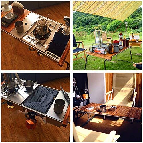 615pc7Y9i8L - Klappbarer Camping-Tisch Tragbarer Picknicktisch Ebenholz Kombinierter Multifunktions-Klapptisch mit Aufbewahrungstasche für Catering Camping Trestle Picknickgarten Patio BBQ Party Lili
