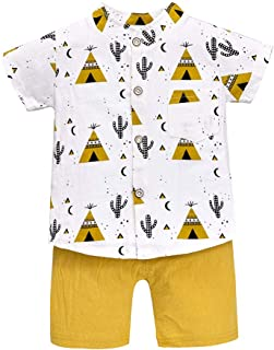 Baby Boys Clothing Set,Toddler Kids Baby Boy Short Sleeve Carton Pattern Shirt Tops+ Denim Pants Set