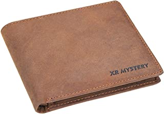 XR MYSTERY RFID Blocking Wallet for Men Minimalist Slim Bifold Stylish Crazy Horse Leather Men`s Wallet, 2 ID Window