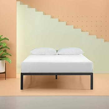 Zinus Mia Modern Studio 14 Inch Platform 1500 Metal Bed Frame / Mattress Foundation / No Box Spring Needed / Wooden Slat Support / Good Design Award Winner / Black, Queen