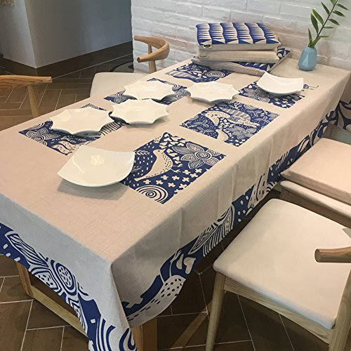 Fluidique Nappes pour tables basses,Chunky Rectangle nappes Table de thé Revêtement tissu Nappe carrée vintage-A 140x180cm(55x71inch)