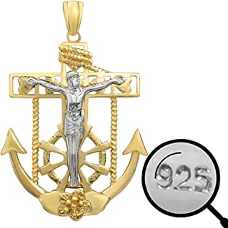 Solid 925 Sterling Silver - 14k Gold Plated - Men's Ladies Jesus On Anchor Cross Pendant
