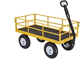 """Gorilla Carts Heavy-Duty Steel Utility Cart with Removable Sides and 13"""" Tires, 1200-lbs. Capacity, Yellow"""
