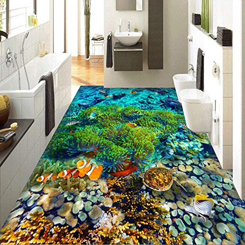 Bodentapete für Meerwasseraquarium Modernes Raumdekor Mediterrane Unterwasserlandschaft Dolphin Coral Custom Tapete für Badezimmer 400x280cm