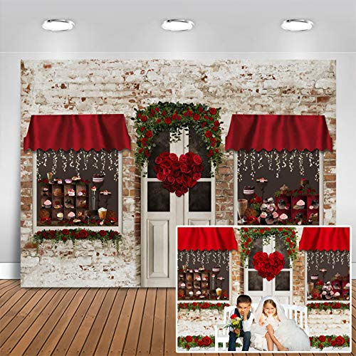Mocsicka Valentine's Day Backdrop Red Roses Dessert Shop Photography Background Baby Kids Portrait Photo Backdrop Bridal Shower Wedding Party Decor Banner (7x5ft (82x60 inch))
