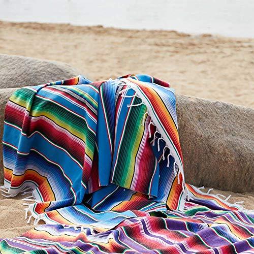 SUNJULY 150x200cm Mantas mexicanas de algodón multifuncionales Manta Bohemia para Sofá Cama Playa Picnic Yoga Alfombra Colorido Serape Raya Colcha Mantel Hecho a Mano Hecho en México