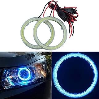 TIDO 2Pcs 80MM Car Angel Eyes Halo Rings COB Light Circle Ring Headlight Lamp with Plastic Cover 12V (Ice Blue)