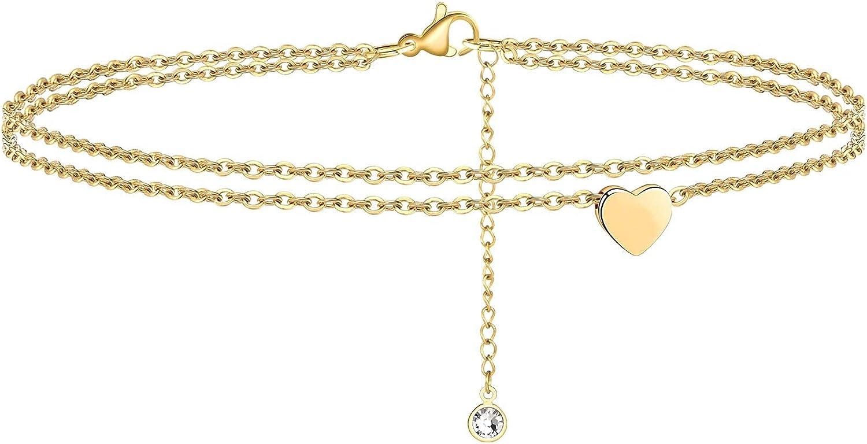 Feverfew Heart Initial Anklet for Women,Handmade 18K Gold Filled Dainty Layered Ankle Bracelet for Women Girl's Gifts