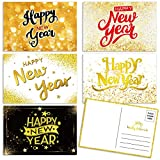 50 Happy New Year Postcards Faux Gold Confetti New Year Holiday Cards