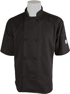 Mercer Culinary M60014BKM Millennia Men`s Short Sleeve Cook Jacket with Cloth Knot Buttons, Medium, Black